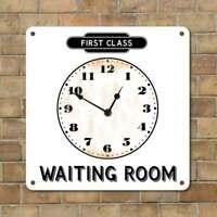 Railway Station Clock, Totem Waiting Room Sign, First Class Train Wall Clock