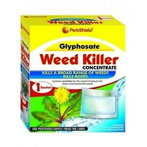 PestShield Glyphosate 32sqm Coverage Strong Weed Killer Concentrate Sachet Lawn