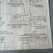 Antique BLUEPRINT Otis Elevator, Gear Motor Electric Engineering Machine #94