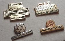 lot de 4 pin's bourse de paris (3 dorés + 1 argenté)