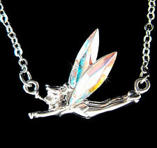w Swarovski Crystal ~AB Tinkerbell~ Tinker Bell Fairy PIXIE ANGEL Charm Necklace