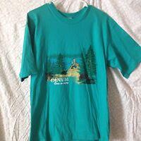 Vintage Canadian Tourists T Shirt With Original Tags Lakewoods Bay Medium Green