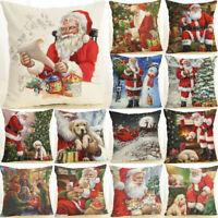 18'' Fashion Christmas Pillow Case Cotton Linen Cushion Cover Home Decoration