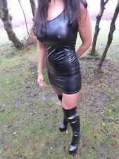 ladies fuax leather shiny pvc effect mini micro dress, BRAND NEW size 8-14
