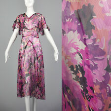 XXS 1930s Day Dress Pink Floral Sheer Silk  Short Sleeves Summer Vintage 30s