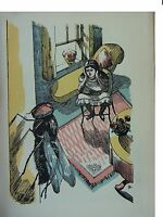 John Nash Plate Signed Original VINTAGE 1931 print Girl in chair window fly