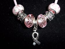 "PINK Handmade Tibetan Silver CANCER AWARENESS ""Hope"" Charm Crystal Necklace N-22"