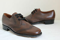 Vintage Design Studio brown leather Brogues lace up shoes UK 8 mens 60s geek NEW