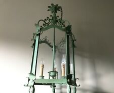 Mid Century Tall Italian Three Light Lantern Pendant Lamp Castle Lantern 1950