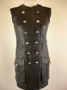 $925 Womens 4 Robert Rodriguez Lamb Leather Black Mini Dress Military Sleeveless