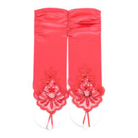 Ivory fingerless Lace Satin formal gloves Wedding Bridal Costume Party G