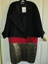 Size 12 Diane Von Furstenberg Black/Red/Gold Weston Long Model Coat NWT