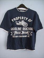 T Shirt Top Boys Property Of Gasoline Machine New York Dark  Blue 12-13 Years