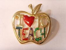 vintage large gold tone apple brooch i love to teach retro belly dancing 46544