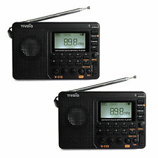 2pcs TIVDIO Portable FM/AM/SW radio Bass Sound MP3 Player REC Voice Recorder