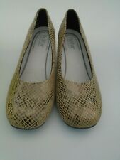 WOMENS SIZE 4.5 HOTTER OLWYN BROWN MINK  SNAKE LEATHER DUAL FIT SHOES  STD EXF