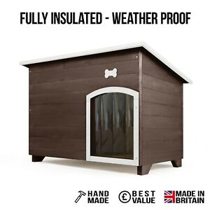 Outdoor Dog Kennel / House Winter Weather Proof Insulated XL Seasoned Oak + Bone