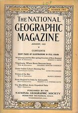 1925 National Geographic August - England to India by Wolseley Auto; New Zealand