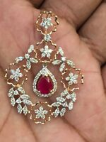 Pave 3.32 Cts Round Brilliant Cut Diamonds Ruby Pendant In Solid 14K Rose Gold
