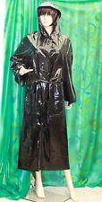 Lady's classic liquid shiney black vinyl hooded raincoat Macintosh  mistress Lge