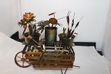 Vintage Tin Metal Sculpture Art of Plant Garden Cart w/ Wheel flowers Hong Kong