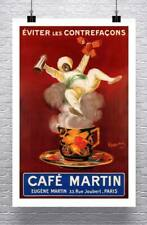 Cafe Martin Vintage Art Deco 1921 Coffee Poster Giclee Print on Canvas or Paper