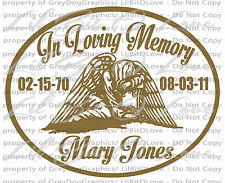 PERSONALIZED IN LOVING MEMORY VINYL DECAL W/ WEEPING ANGEL WITH  NAMES & DATES