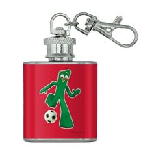 Sporty Gumby Soccer Ball Player Clay Art Stainless Steel 1oz Flask Key Chain