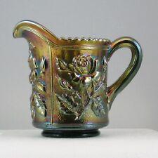 IMPERIAL GREEN LUSTRE ROSE CARNIVAL GLASS CREAMER OLD BW0507