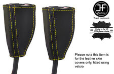 YELLOW STICH 2X FRONT SEAT BELT LEATHER COVERS FITS HOLDEN COMMODORE VT VX VU WH