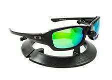 OAKLEY FIVES SQUARED POLISHED BLACK FRAME / REVANT GREEN POLARIZED CUSTOM LENSES