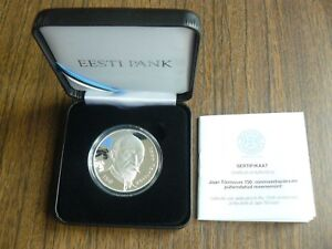 Estonia 2018 Jaan Tõnisson 150 Anniversary Silver 15 Euro Proof in Box with Cert