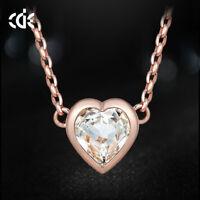 Original CDE Halskette Herz Anhänger mit Swarovski Kristall 750er Rosegold 18K