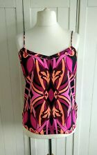 Ted Baker Deep Purple Pink Gold Cynaria Printed Scallop Cami Top Size Large
