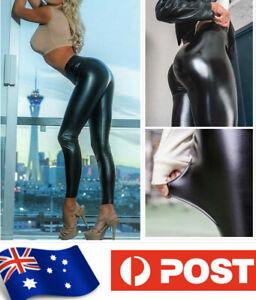 AU SELLER Faux Leather Rockabilly Push UP Butt Pants Plus Size Leggings P068