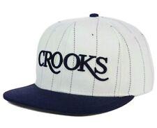 Crooks & Castles Mens Serif Pinstripe Snapback Cap Hat Flat Bill Brim $32