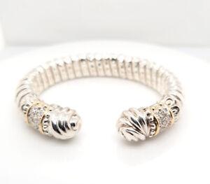 Designer Vahan Sterling Silver 14K Yellow Gold Round Cut Diamond Bangle Bracelet