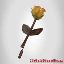 6 Copper Dipped Cream /Pink Rose Pins 2 Leaves (Free Mother's Day Gift Boxes)