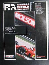 Program Grand Prix Molson Du Canada 1989 16-17-18 juin Montréal (PBE)