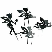 Set of 4 Small Black Fairy Silhouettes With Stake Garden Deco Ornament