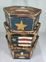 Jeanette McVay Folk Art Hand Painted Patriotic Hexagon Nesting Boxes Signed