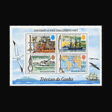 Tristan da Cunha, Sc #184a, MNH, 1973, S/S, Challenger, Ships, Maps, 231*F