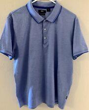 Hugo Boss Light Blue White Striped Cotton Linen Collared Polo Shirt Sz M