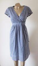 Jojo MAMAN BEBE Umstandsmode schmeichelhafte Blau & Weiß Gefüttert Baumwolle Tee Kleid 12