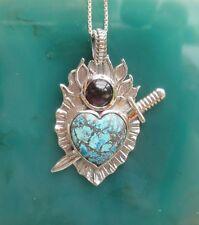 Pendant Sword Pierced Heart Chrysocolla Garnet Sterling Silver 925