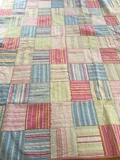 "Pottery Barn Patchwork Quilt 85""x87"" Good Pre-owned Blue/Pink/Green"