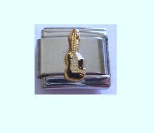 9mm  Italian Charm  E86 Black Guitar  Fits Classic Size Bracelet