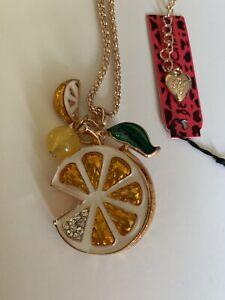 Betsey Johnson Cute inlay Crystal Lemon-ORANGE Pendant Necklace-BJ80141