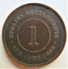 1886 STRAITS SETTLEMENTS Victoria,1 Cent, grading VERY FINE. Key Date.