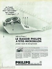 PUBLICITE ADVERTISING 126  1966  rasoir éléctrique tete microsillon par Philips